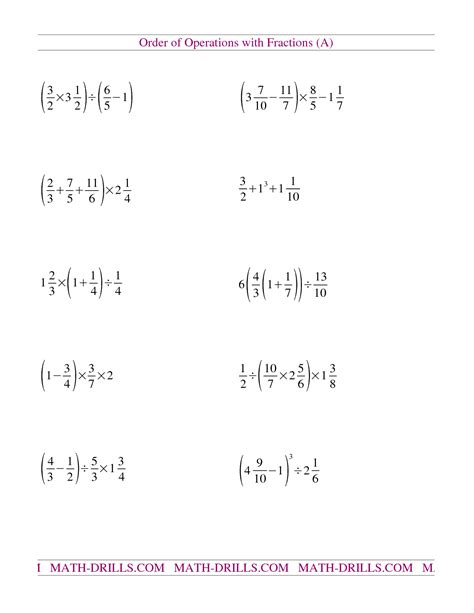 Order Of Operations Worksheets 6th Grade by 12 Best Images Of Order Of Operations Worksheets Order