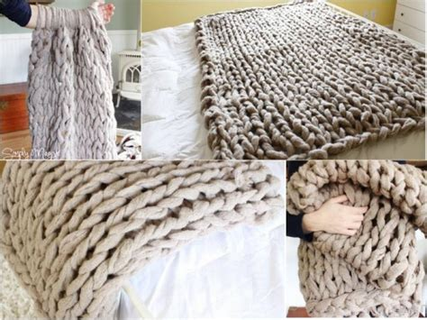 how to arm knit a blanket how to diy arm knit blanket in 45 minutes beesdiy