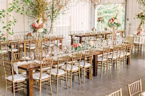 Gold Chiavari Chairs and Long Wood Dining Tables