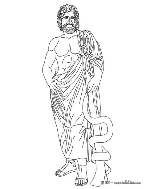 asclepius the greek god of medecine coloring pages