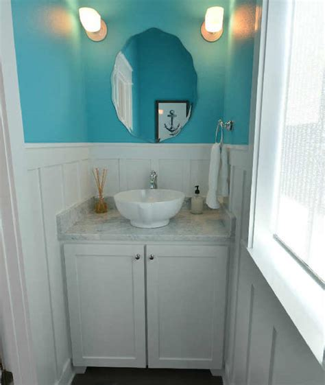 Pedestal Sink With Cabinet White And Turquoise Powder Rooms Design Ideas