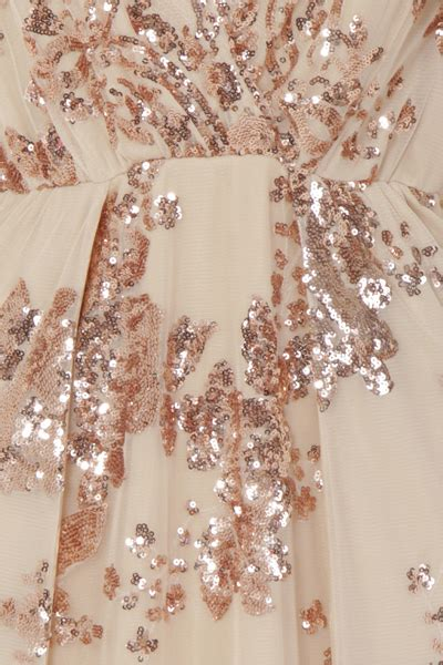 nazz collection clara rose gold plunge long sleeve floral