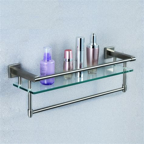 Glass Bathroom Shelves With Towel Bar Bathroom Glass Shelf With Towel Bar