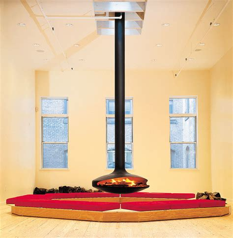 Focus Camini by Open Central Hanging Fireplace Gyrofocus Gyrofocus