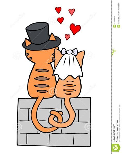hochzeitstag zwei jahre hochzeitstag katzen in der liebe stock abbildung