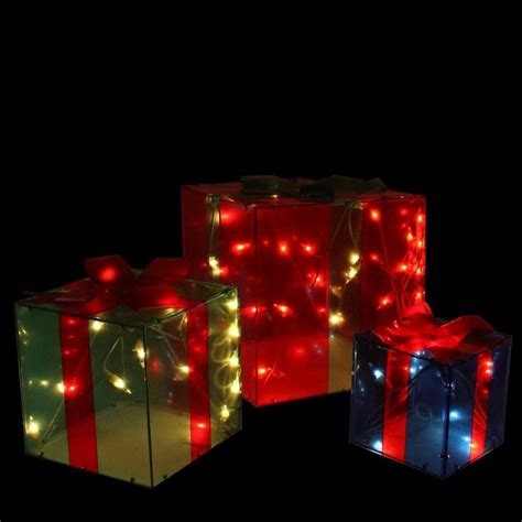 northlight 3 box outdoor set y76231 northlight set of 3 green and blue lighted glistening gift box outdoor decorations