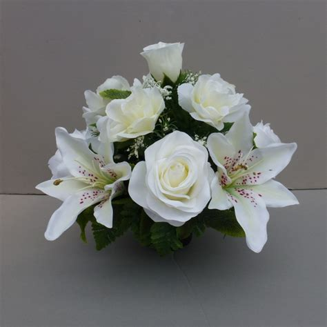 Artificial Lilies In Vase by Pot For Memorial Vase With Artificial White Lilies Roses