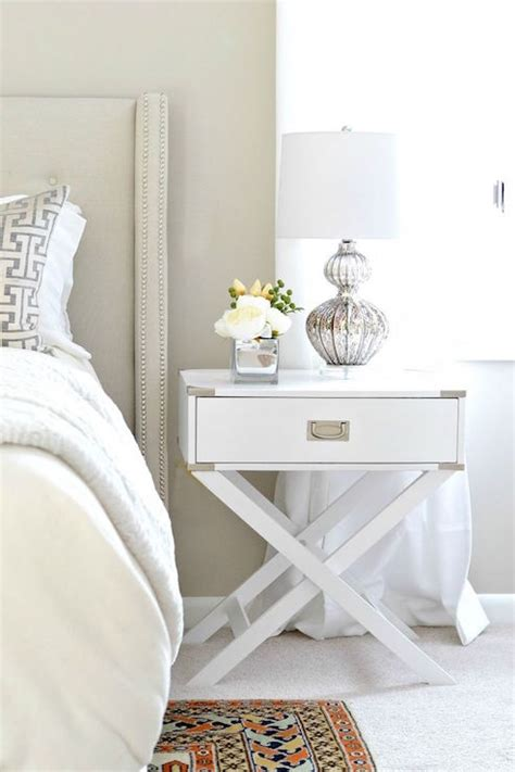 white night tables for bedroom white x based caign nightstand transitional bedroom