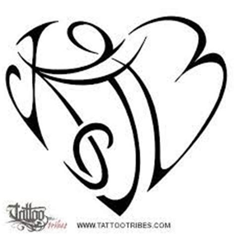 tattoo lettering intertwined initial b and heart combined together celtic weave style