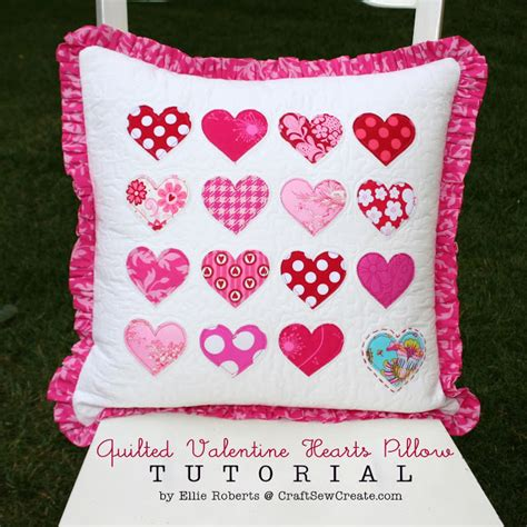 valentines pillows craft sew create quilted hearts pillow tutorial