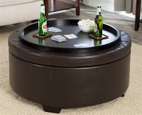 ottoman with tray table round ottoman coffee table tray storage ottoman with tray