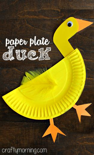 Paper Duck Craft - creative paper plate crafts for to make crafty morning