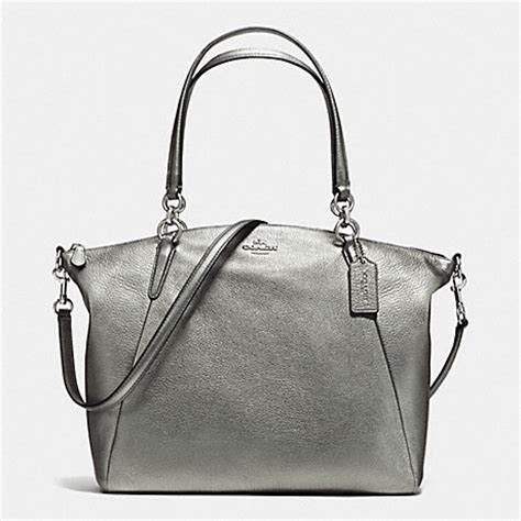 Coach Kelsey Small Gunmetal Original coach f37858 kelsey satchel in grain leather silver