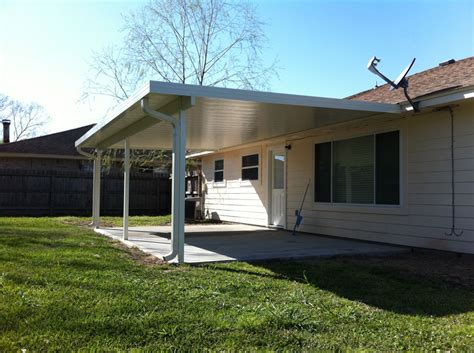 Aluminum Covered Patios by Aluminum Patio Cover And House Gutter In La Porte Tx 187 A 1