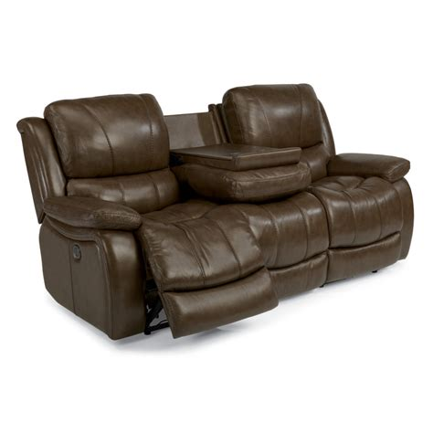 Discount Reclining Sectionals by Flexsteel 1343 62p Zandra Leather Power Reclining Sofa