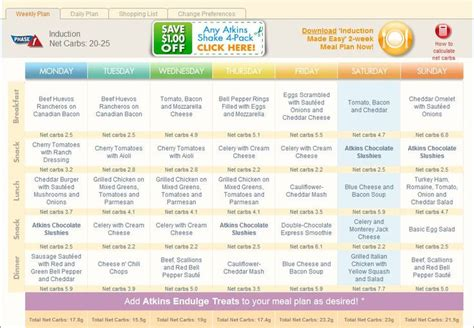 induction phase atkins weight loss low carb layla phase 1 week 1 atkins meal planner florida