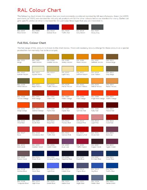 ral color chart free