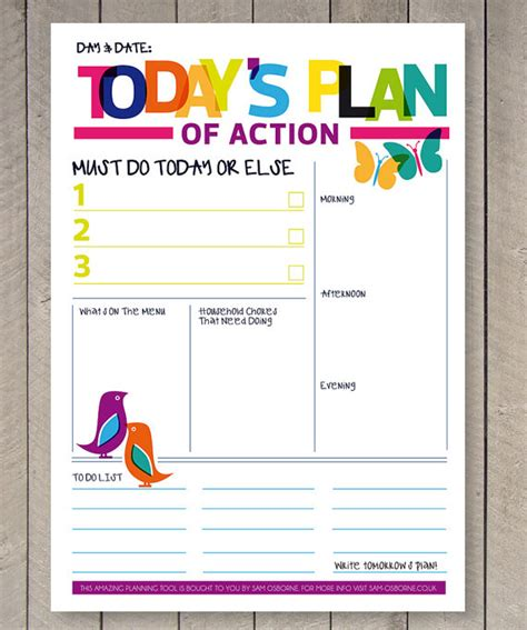 etsy printable to do list printable planner daily to do list family organiser rainbow