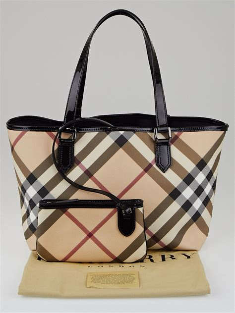 Trovata Canvas And Patent Tote by Burberry Black Patent Leather Supernova Check Coated