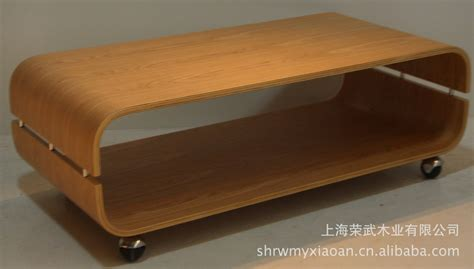 u bend wood coffee table curved soft texture in
