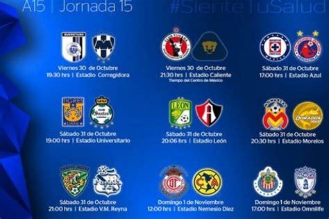 Calendario Liga Mx America 2015 Liga Mx Conoce El Calendario De La Jornada 15