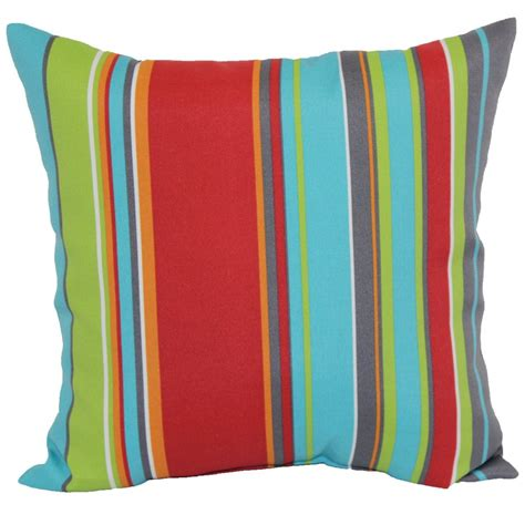 Outdoor Pillows Lowes by Garden Treasures Stripe Outdoor Throw Pillow