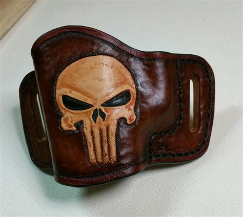 Handmade Leather Holsters - leather holster punisher owb custom tooled gun by