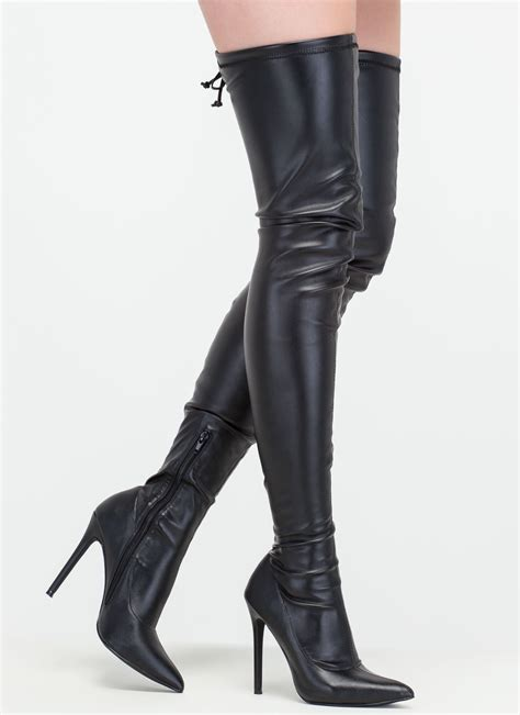 thigh high leather boots crush faux leather thigh high boots black gojane