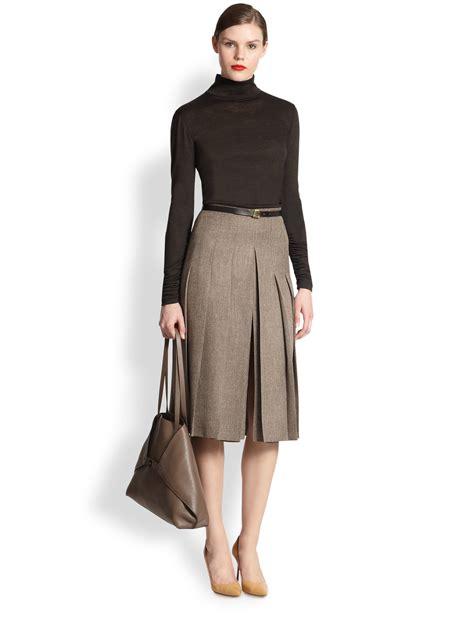 akris pleated tweed skirt in gray lyst