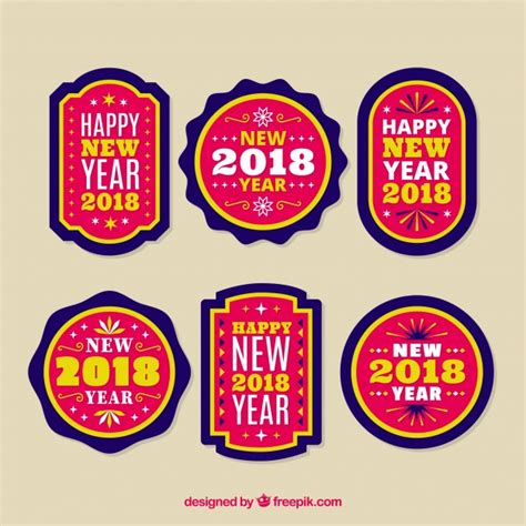 new year collection zalora collection of pink new year badges vector free