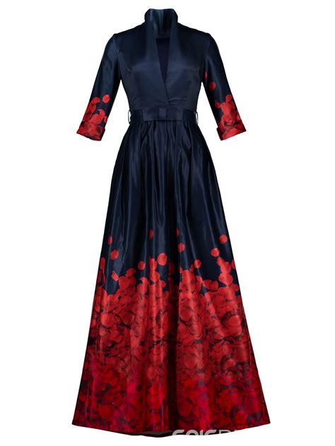 ericdress  neck belt ankle length print maxi dress
