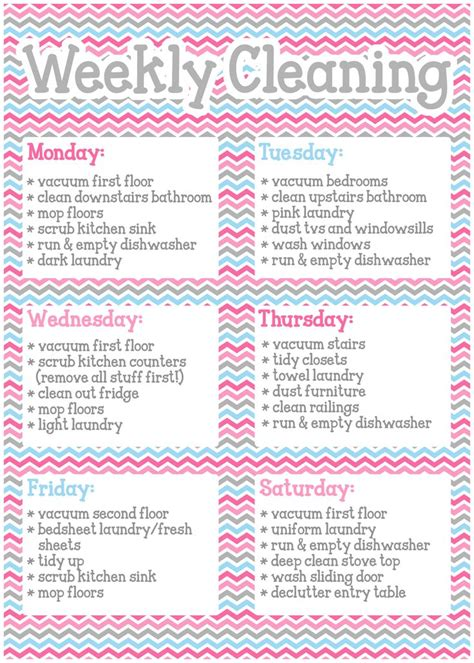 household cleaning schedule on pinterest cleaning