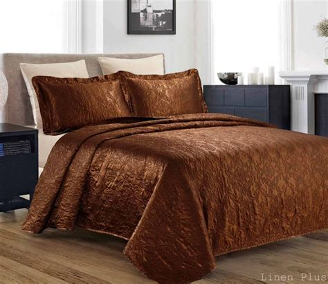 king coverlet size 3 piece silky satin brown quilted bedspread coverlet set