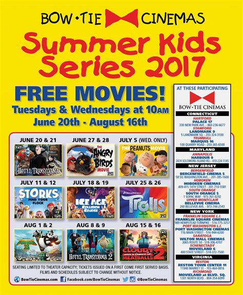 Bow Tie Cinemas Gift Card - summer kids series movie events bow tie cinemas