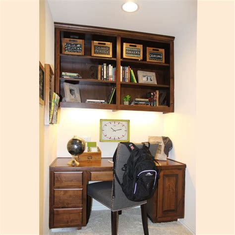 built in desk with upper cabinets office 004 burrows cabinets central texas builder