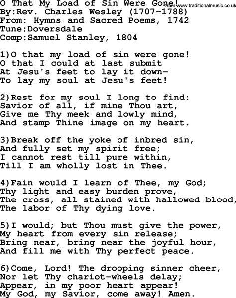 methodist hymn o that my load of were lyrics