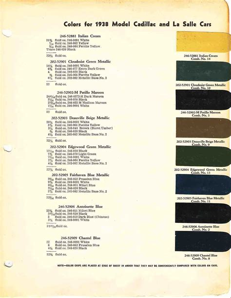 cadillac paint codes for images