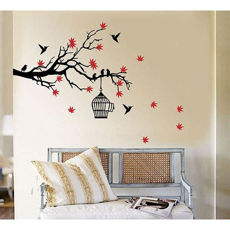 Birdcage Wall Stickers silver birdcage wall decals tree branch blossoms with