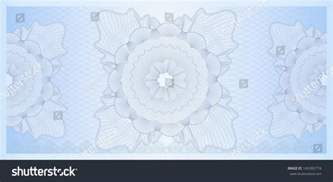 Blue Gift Certificate Voucher Coupon Template Layout With Guilloche Pattern Watermark Watermark Template