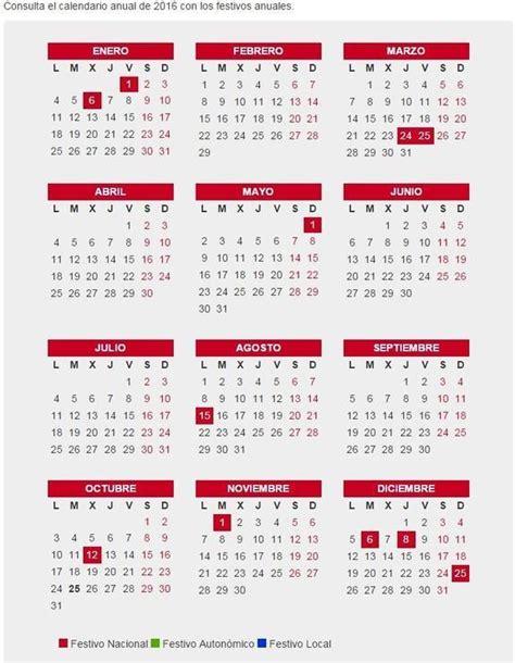 Calendario Q Dia Es Hoy Calendario Laboral 2016 En Qu 233 Caen Festivos Puentes