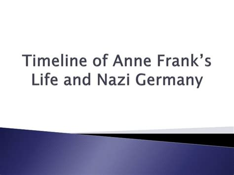 anne frank biography powerpoint ppt timeline of anne frank s life and nazi germany