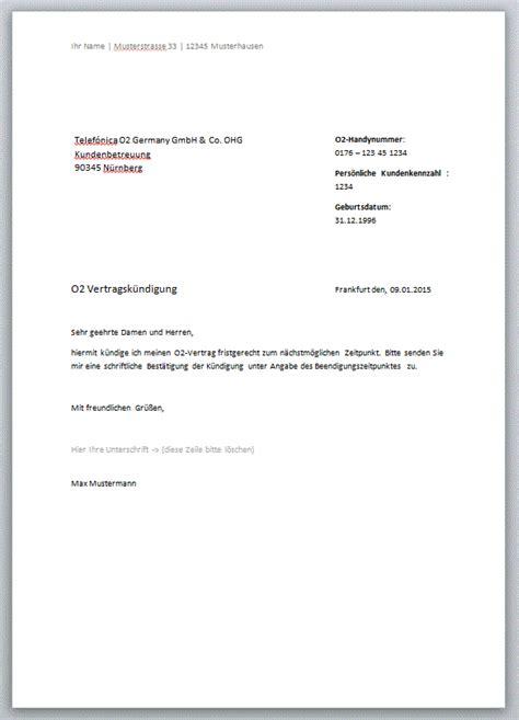 O2 Kundigen Brief 6 Handyvertrag K 252 Ndigen Vorlage Expense Report