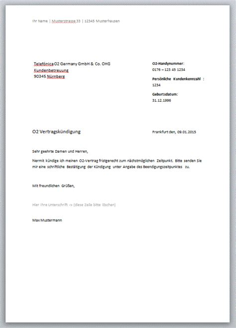 Kündigung O2 Vertrag Brief K 252 Ndigungs Muster Comdirect Hotline