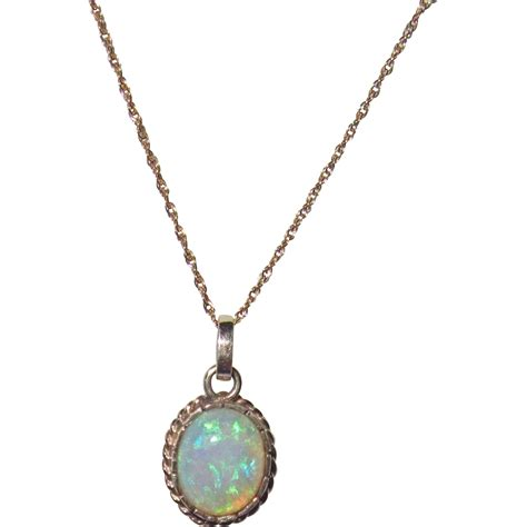 14k gold opal pendant necklace