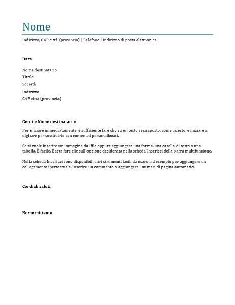 modello lettere di presentazione lettera di presentazione