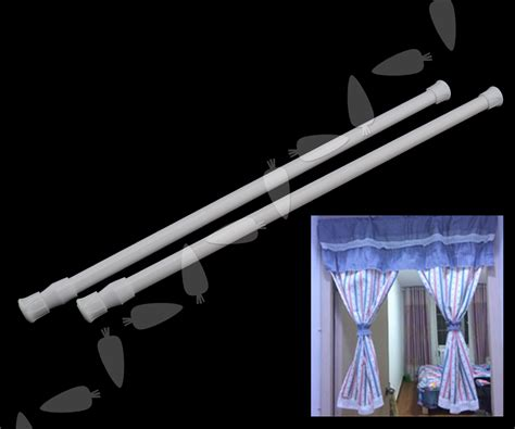 voile curtain pole 2 x spring loaded extendable telescopic voile tension