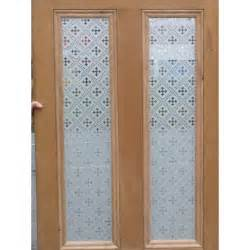 Victorian 4 panel etched glass door with druid or gothic glass design