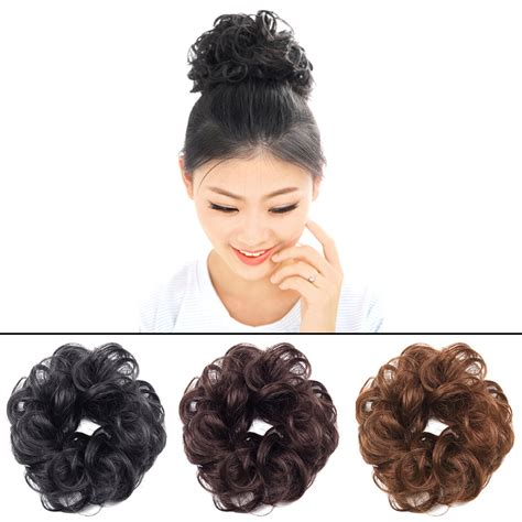 black women clip onm hair buns wavy curly synthetic bun cover hairpiece clip in scrunchie