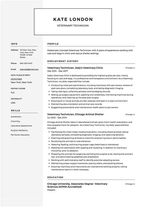 Resume Template Veterinarian by 12 Veterinary Technician Resume Templates Resumeviking