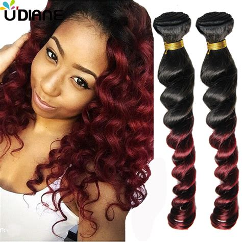 loose wave braiding hair brazilian human hair ombre loose wave two tone red wine